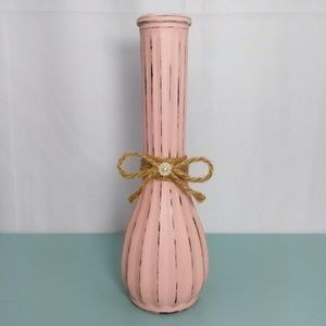 Distressed Pink Flower Vase w/ Delicate Twine Bow